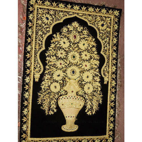 Black And Golden Kashmiri Handcrafted Jewel Carpet, Size: 60 X 150 Cm