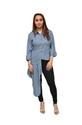 T-3d Fashion Grey And Peach One Sided Long Top In