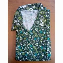 Western Multicolor Collar Neck Flower Print Nightgown, Size: Large