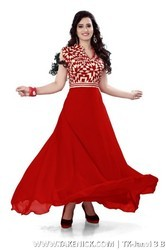 A Line Flared Plain Printed Red Silk Semi Stitched Gown