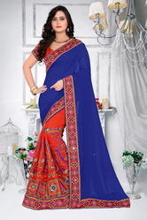 Blue  And Orange  Color Designer Pallu Half And Half Georgette Saree