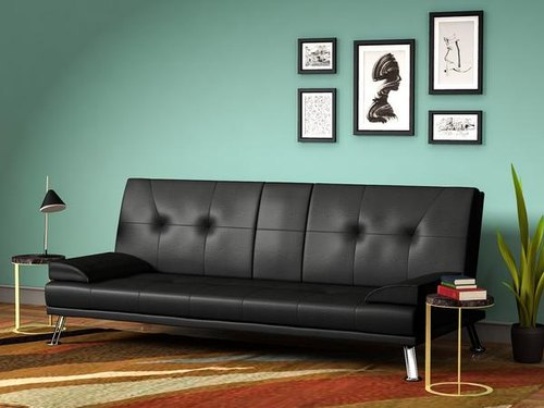 Black Leatherette Forzza Foldable Sofa Cum Bed