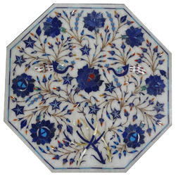 White Marble Inlay Pietra Dura Table Tops