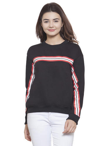 Martini Women Black With Red   White Stripe Sweatshirt ... d400a097c3