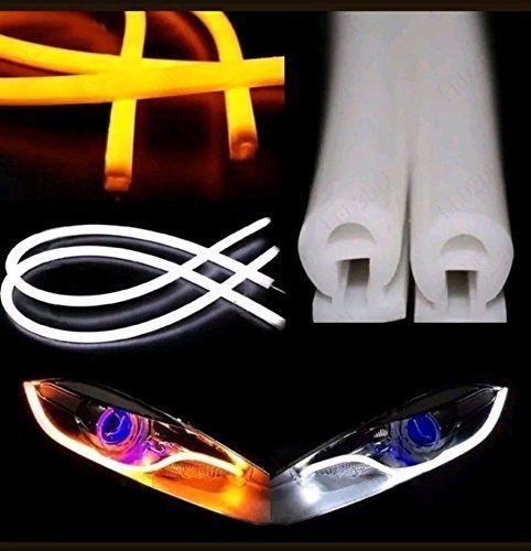 Remarquable 2 NEON Audi Tube 60CM White Amber Flexible LED Strip Daytime Light IE-04