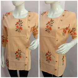 Casual Wear Ladies Orange Cotton Kurtis