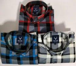 Collar Neck Long Sleeve Men Cotton Check Shirts