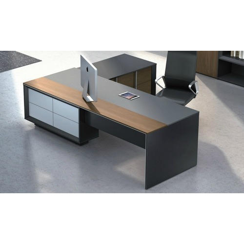 solid wood l shape modern executive office table rs 8000 piece