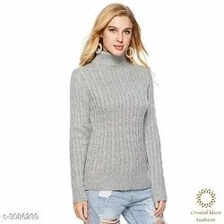 Button Gray Standard Stylish Womens Sweaters