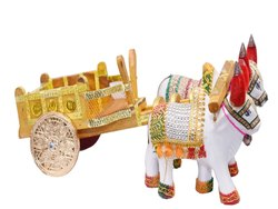 Natural Wood wooden bulock cart, For decoreshion, Size: 15 Inch
