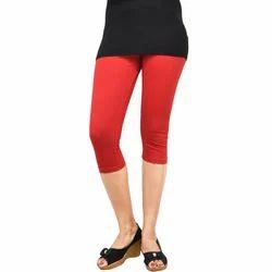 Femini Ladies Red Capri Lagging, Size: Free Size