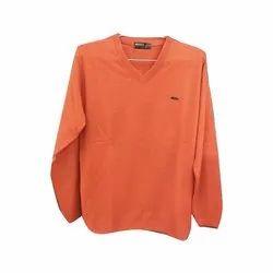 Orange Full Sleeve Mens Plain Sweater