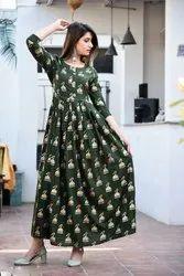 Jhumka Print Green Anarkali Kurti