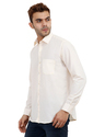 Mens Solid Cream Color Plain Shirt