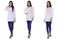Indian Embroidered Tunic White Cotton Kurti