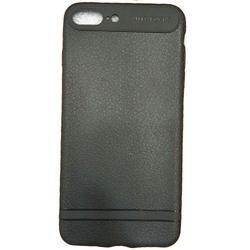 PU And Rubber Plain Black Mobile Back Cover