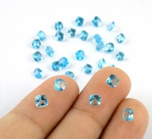 Dark Blue Topaz Cushion Normal Cut Gemstone