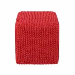 Red Square Ottoman Pouf Stools