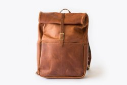 Shoulder rolling large leather backpack