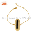 Designer Gold Plated Silver Black Onyx Chain Bracelet