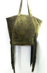 Vintage Brown Suede Leather Tote Bag