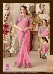 Pink Designer Party Wear Georgette Saree