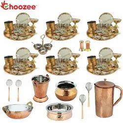 Choozee - Set of 6, Stainless Steel Copper Thali Dinner Set with Serveware