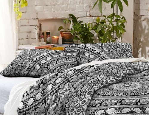 Yin /& Yang Black and White Queen Size Duvet Doona Cover Indian Bedding Set Throw