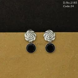 Silver Antique Polish Stone Studded Earring