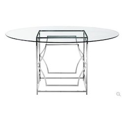 Steel Round Glass Table
