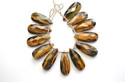 3 Pair 10x25mm Natural Chatoyant Yellow Tiger Eye Faceted Long Pear Pair Briolette Beads