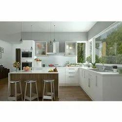 Wooden L Shape Sleek Modern Kitchen