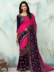 Embroidery Embroidered Sarees, Machine wash