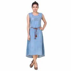 Calf Long Sleeveless Ladies Denim Dress