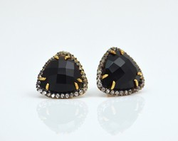Trillion Cut Hot Fashionable Gemstone Black Onyx Zircon Earring Stud