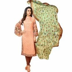Rajnandini Peach Chanderi Silk Embroidered Semi-Stitched Dress Material With Printed Dupatta