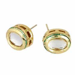 Festival Brass Ankur Shimmering Rhodium Stud Earring for Women
