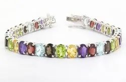Mix Colour Oval Lateral Tennis Link Silver Bracelet