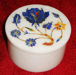 Marble Inlay Box in Round Shape