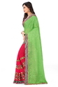 Lycra Pallu Embroidered Designer Green And Pink Color Saree