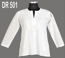 White Cotton Hand Embroidered Chikan Women's Short Top DR501