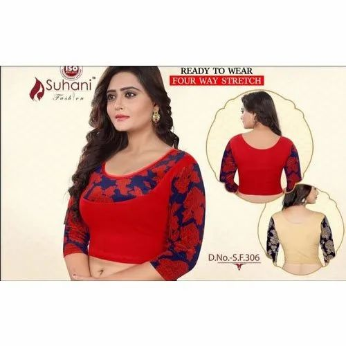 Cotton also available in Lycra Embroidered Fancy Blouses, Size: 32-36 Inch