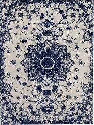 Rectangular Blue Printed Modern Jodhpuri Rug