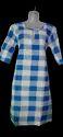 Regular 3/4th Sleeve Check Casual Wear Ladies Cotton Kurtis, Wash Care: Machine Wash