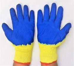 Blue On Yellow Latex Coated Hand Gloves