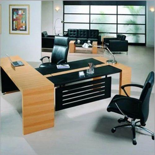 Wood U0026 Stainless Steel Rectangular Designer Office Furniture
