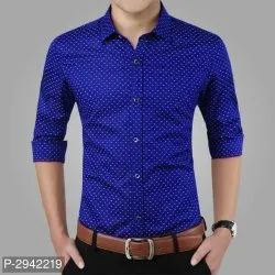 Men Blue Dot Printed Shirt