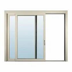 Glass White Aluminium Sliding Window, For Home