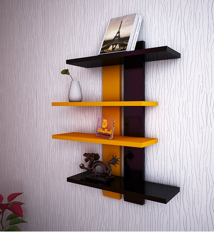 Wooden Ladder Shape 4 Tier Wall Shelf Designer Wall Rack