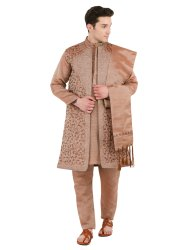 Stitched Embroidered 4 Piece Sherwani For Men